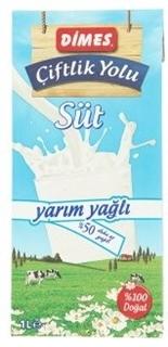Dimes Çiftlik Yolu UHT Yarım Yağlı Süt 1 lt ürün resmi