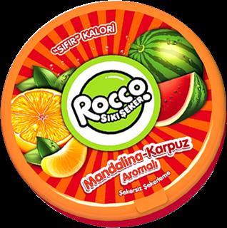 Rocco Sıkı Şeker Mandalina ve Karpuz Aromalı Şekersiz Şeker 15 gr ürün resmi