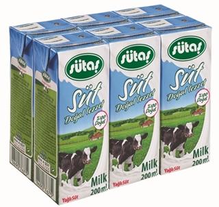 Sütaş Doğal Lezzet Uzun Ömürlü Yağlı Süt 6X200 Ml ürün resmi