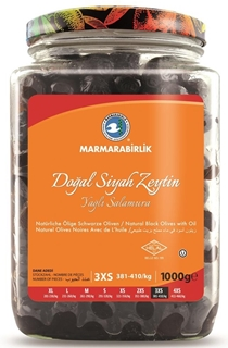 Marmarabirlik Yağlı Salamura Lüks Siyah Zeytin Cam 1000 Gr ürün resmi