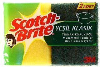 Picture of Scotch Brite Yeşil 2 Adet Klasik + 1 Adet Çizmez Tırnak Koruyuculu Bulaşık Süngeri 2 Adet