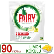 Resim Fairy Hepsi Bir Arada Bulaşık Makinesi Deterjanı Kapsülü Limon Kokulu 90 Yıkama