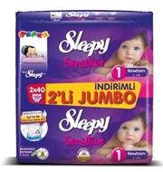 Resim Sleepy Çocuk Bezi 2Li Jumbo 80 Li 1 Yenidoğan