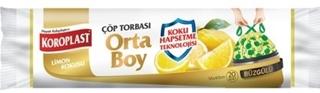 Koroplast Limon Kokulu Büzgülü Orta Boy Çöp Torbası 20'li 55x60 Cm ürün resmi