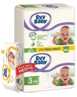 Evy Baby Midi 2 Li+Islak Havlu 3 Numara 68 Li ürün resmi