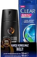 Resim Axe Deodorant Dark 150 Ml+Clear Şampuan Sport 180 Ml