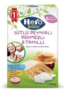 Hero Baby Sütlü 8 Tahıllı Peynirli Pekmezli 200 Gr ürün resmi