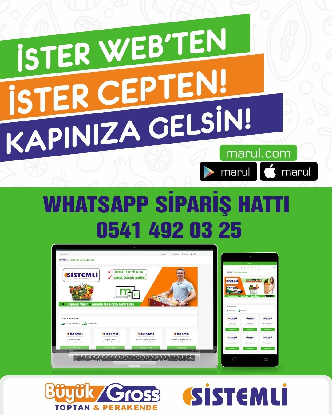 Gaziantep sistemli market online sipariş whatsap telefonla sipairş