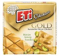 Resim Eti Çikolata Kare Gold Antep Fıstıklı Beyaz 60 Gr