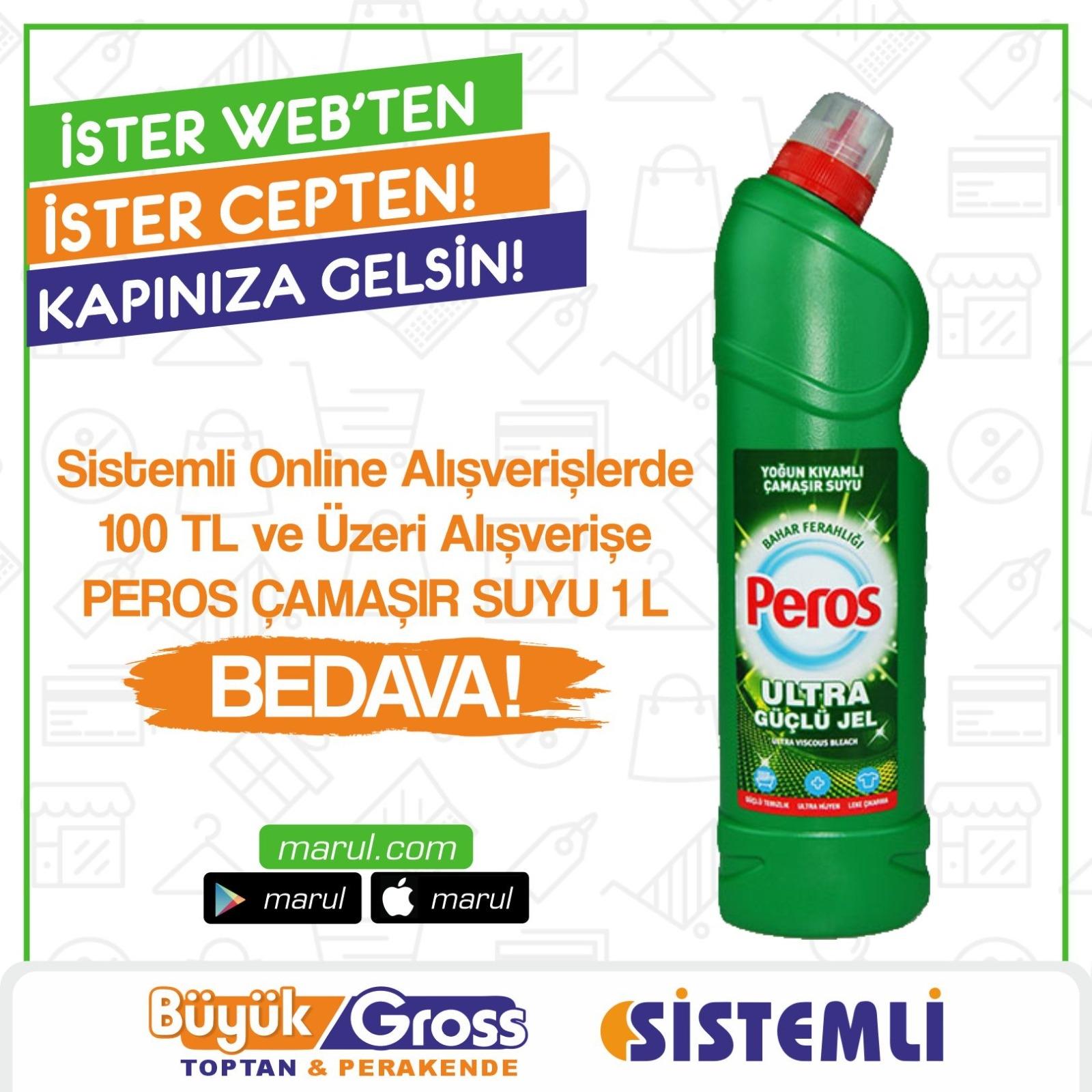 100 Tl Üzeri alışverişlerde peros 1 litre çamaşır suyu hediye